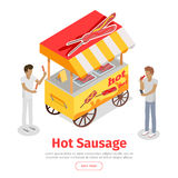 Hot Sausage Trolley in Isometric Projection Style Stock Image