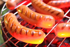 Hot sausages on barbecue Stock Photos