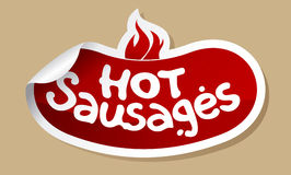 Hot sausages stickers. Stock Images