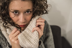 Hot scarf in gelid winter. Woman with a hot scarf in wool in a gelid winter Stock Photography