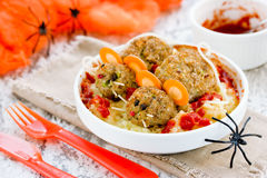 Hot scary food for Halloween party, holiday decoration setting p Stock Image
