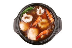 Hot sea food soup stock images