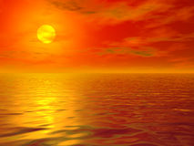Hot sea sunset. Illustration of hot sea sunset background Stock Photos