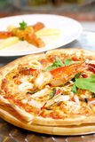 Hot seafood pizza. For lunch Stock Photography