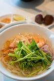 Hot seafood Vietnamese noodle soup stock photo