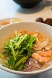 Hot seafood Vietnamese noodle soup stock photos