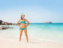 Hot and seductive young woman in cyan bikini with diving mask Royalty Free Stock Photos