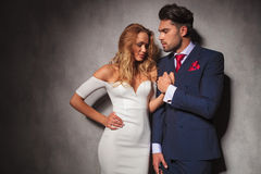 Hot sexy elegant man holds his woman's hand Royalty Free Stock Image