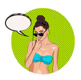 Hot sexy tanned girl with speechbubble for your text Stock Photos