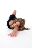 Hot woman crawling to you the viewer Stock Photography