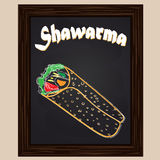 Hot shawarma chalkedpainted with chalk Royalty Free Stock Images