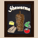 Hot shawarma and ingredients chalked painted with chalk Stock Image
