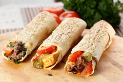 Hot shawarma with vegetables Royalty Free Stock Photography