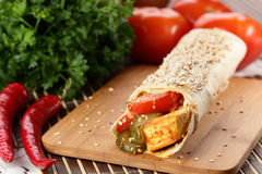 Hot shawarma with vegetables Stock Photography