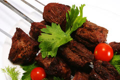 Hot shish kebab on skewer Stock Photography