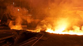 Hot shop at the metallurgical factory with molten steel in the chute. Stock footage. Metallurgical works, industrial stock images