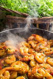 Hot shrimp fried in a pan Royalty Free Stock Images