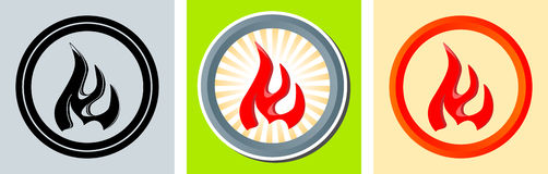 Hot sign. Set of round sign with red flames. Eps 10 Stock Photography
