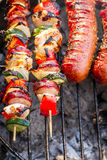 Hot Skewers And Sausages On The Grill Stock Image
