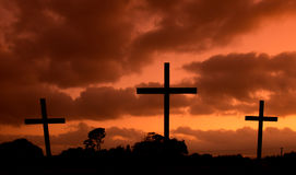 Hot Sky Crosses. Three crosses with a hot looking sky behind them Stock Images