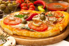 Hot slice of pizza. Hot fresh slice of pizza Royalty Free Stock Photo
