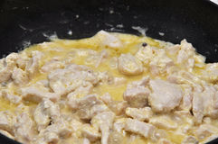 Hot sliced poultry roasted in cream sauce Stock Photography