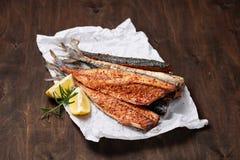Hot smoked beheaded mackerel Royalty Free Stock Images