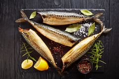 Hot smoked mackerel on a black tray royalty free stock photos