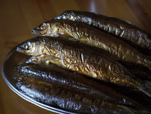 Hot smoked Omul (endemic species of fish in the lake Baikal, Rus Royalty Free Stock Photography