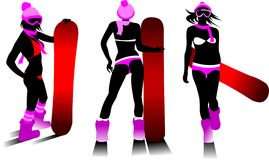 Hot snowboard. Woman on a snowboard jump performs complex (vector illustration Stock Photo