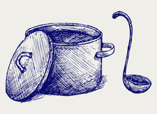 Hot soup. Doodle style. Sketch vector Stock Photo