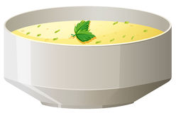 Hot soup in bowl. Illustration Stock Photo