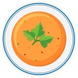 Hot soup in bowl. Illustration Stock Images