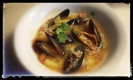 Hot Soup with Fresh Muscles stock photo