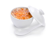 Hot soup with noodle Stock Photo
