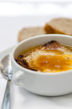 Hot soup with onion and cheese Royalty Free Stock Photos