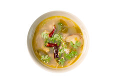 Hot and Sour Chicken Soup tom yum gai on white background ,Tha Royalty Free Stock Images
