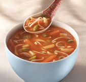 Hot and sour chinese soup in a white bowl Stock Image