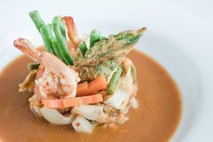 Hot and Sour Curry with Shrimp and Acacia Omelette Stock Photo