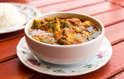 Hot and sour curry with shrimps and Acacia Omelette Royalty Free Stock Photos
