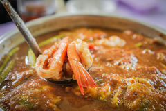 Hot & Sour Curry with Shrimps and Acacia Omelette Stock Image