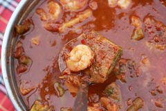 Hot and sour curry with tamarind sauce, shrimp Royalty Free Stock Photo