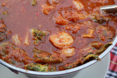 Hot and sour curry with tamarind sauce, shrimp Royalty Free Stock Images