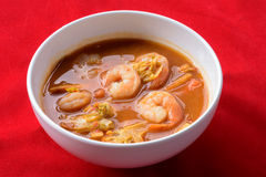 Hot and sour curry with tamarind sauce. Shrimp and vegetables : Delicious thai traditional food Royalty Free Stock Photos