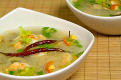Hot-and-sour prawn soup. Served Royalty Free Stock Image