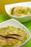 Hot-and-sour prawn soup. Served Royalty Free Stock Photo