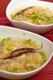 Hot-and-sour prawn soup. Served Stock Images
