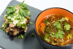 Hot and sour seafood soup,. Thai spicy soup Royalty Free Stock Image