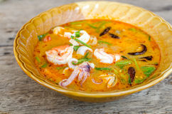 Hot and sour seafood soup. (Tom Yam Stock Image