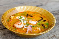 Hot and sour seafood soup (Tom Yam). Thai foods Royalty Free Stock Image